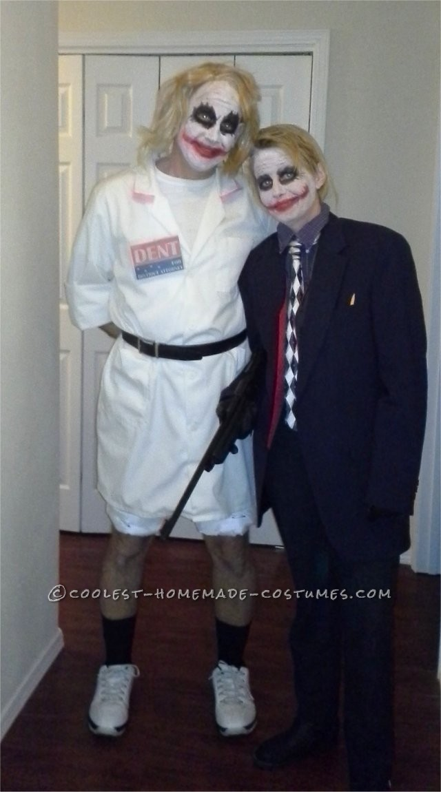 """Cool Homemade Couple Costume Idea: Joker and his Tag Line """"Why So Serious?!"""""""