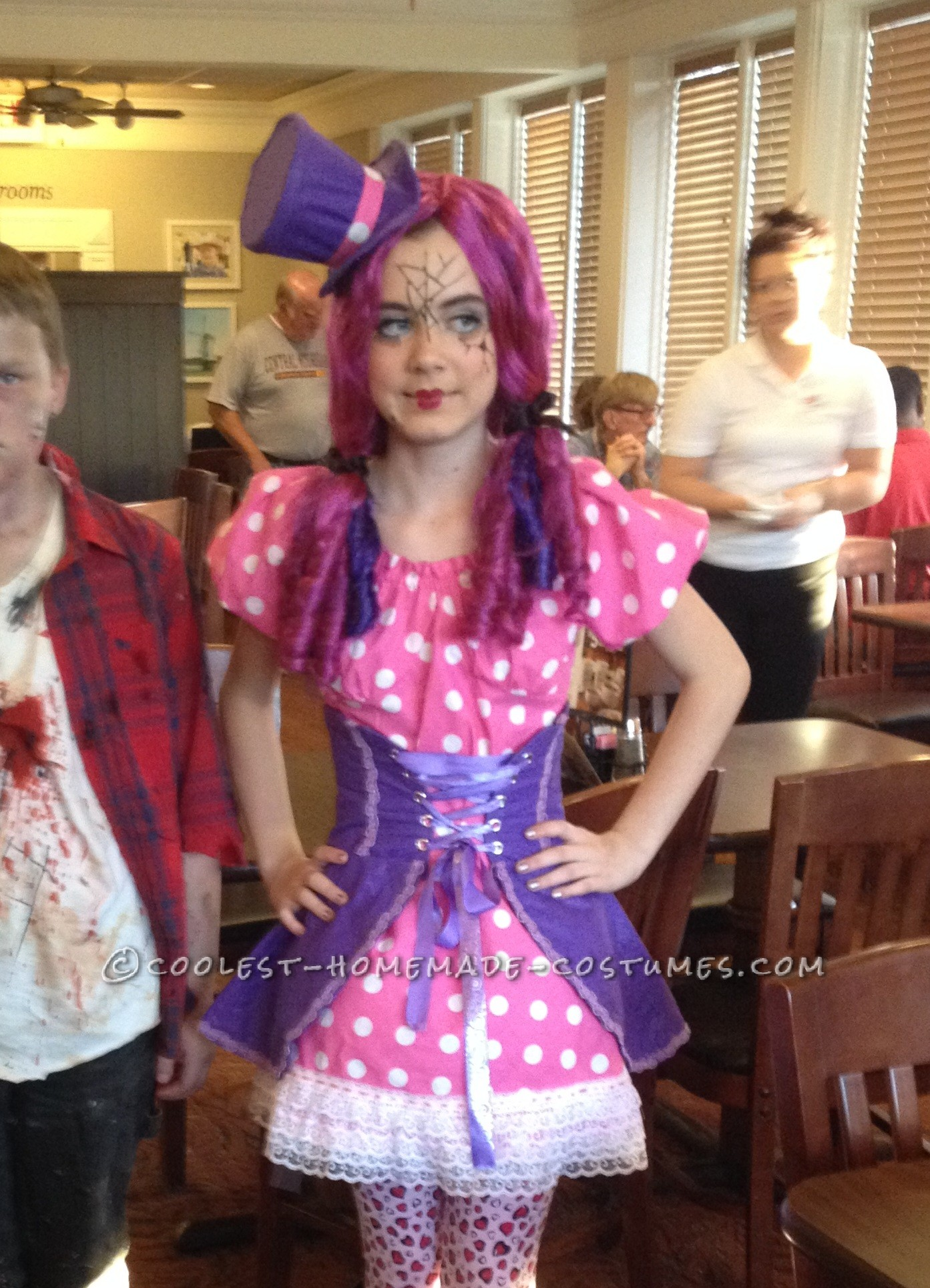 Polka Dot Broken Doll Costume Made by an 11 Year Old!