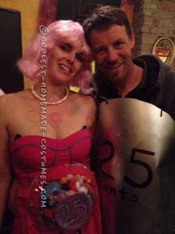 Cool Gumball Machine and 25 Cent Coin Couple Halloween Costume