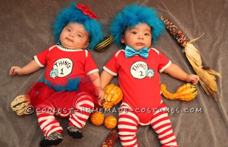 Our 1st Halloween-Thing 1 & Thing 2 Infant Costumes
