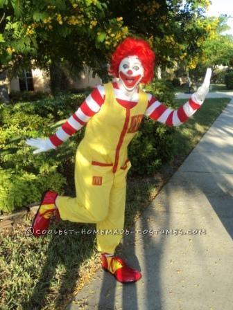 Fun Homemade Ronald McDonald Costume