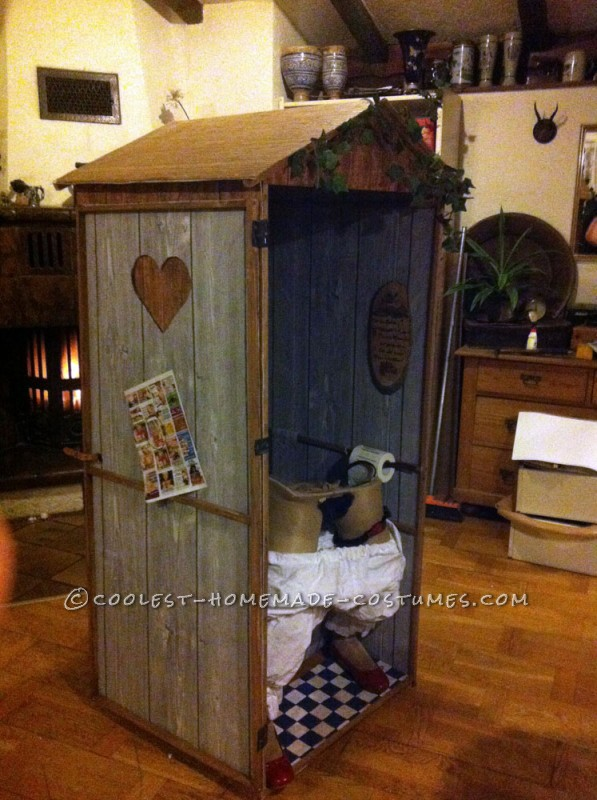 Funny Illusion Costume: Traditional Bavarian Woman Sitting on Wooden Toilet - 5