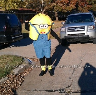 Cool Minion Costume for Grandma: My husband of 43 years passed away in September, and I decided I could sit around sad and empty OR stay busy busy with sewing, crafts, etc. My grandch