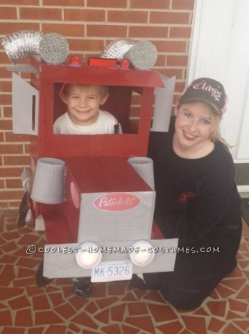 Coolest Homemade Peterbilt Truck Halloween Costume for a Toddler