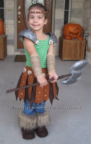 Astrid: Viking Dragon Warrior Costume Homemade for Preschool Age