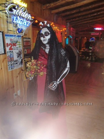 Awesome Body Paint Skeleton Bride Costume