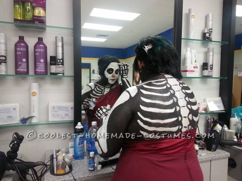 Awesome Body Paint Skeleton Bride Costume: This year I let my husband chose our costume theme and he choose skeletons. I thought ok, easy enough. But was it too easy? I thought the sugar skull