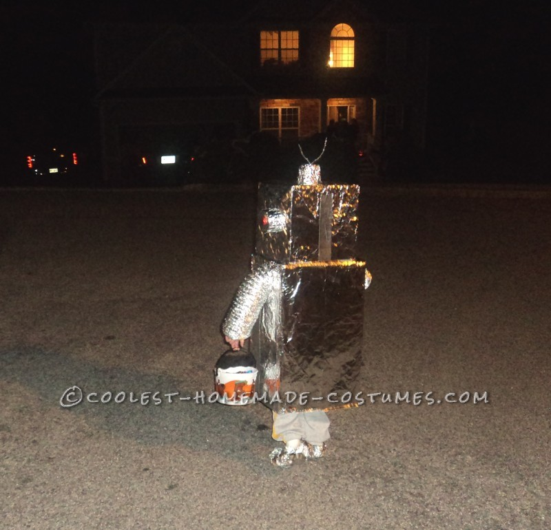 DIY Toddler Robot Costume with Blinking Lights