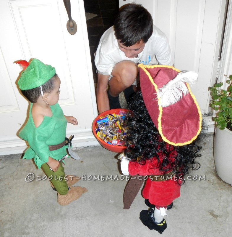 Cool Captain Hook and Peter Pan Twin Toddler Costumes and Daddy Mr. Smee - 2