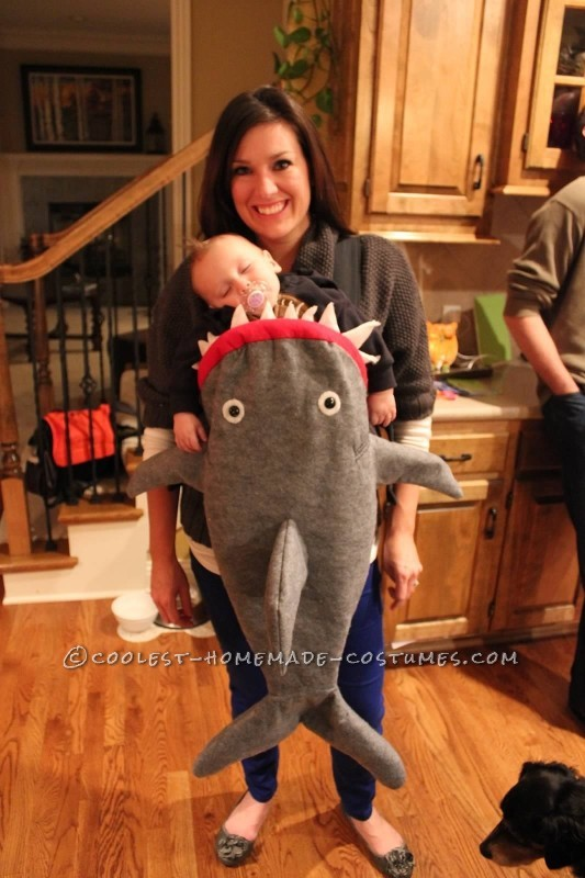 Coolest Baby Shark Attack Costume Using Baby Carrier