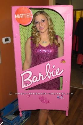 Pink and Sparkly Barbie in a Box Halloween Costume