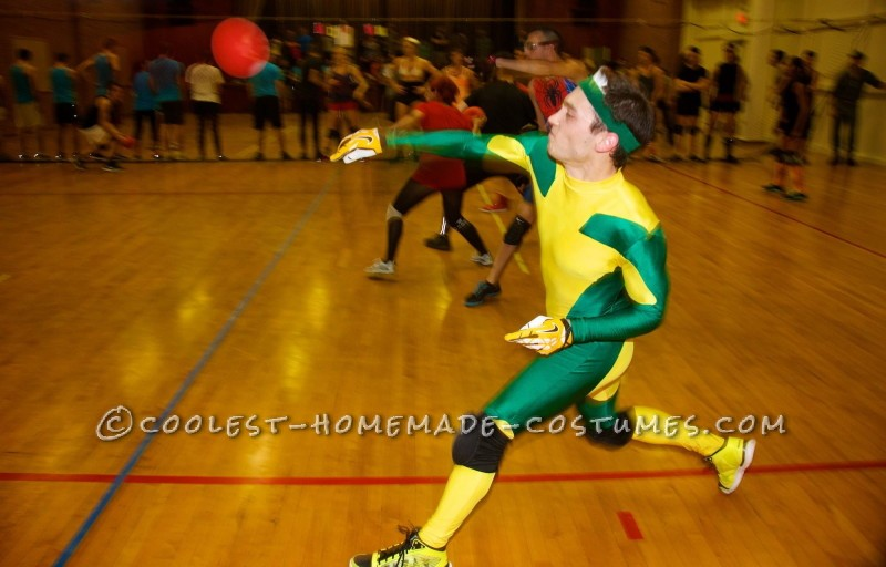 Rogue on the dodgeball court in action.