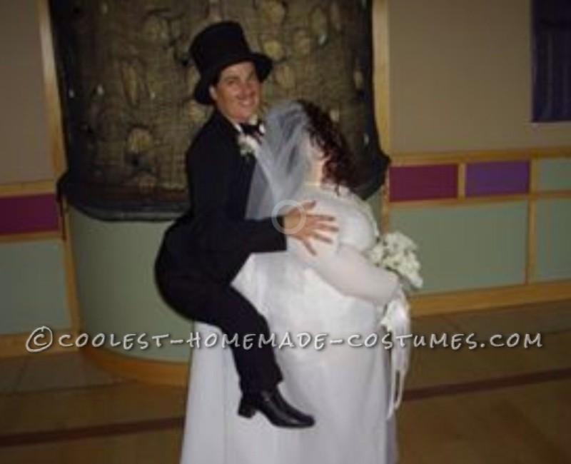 Piggyback Illusion Costume: Bride Giving her Groom a Piggyback Ride - 1