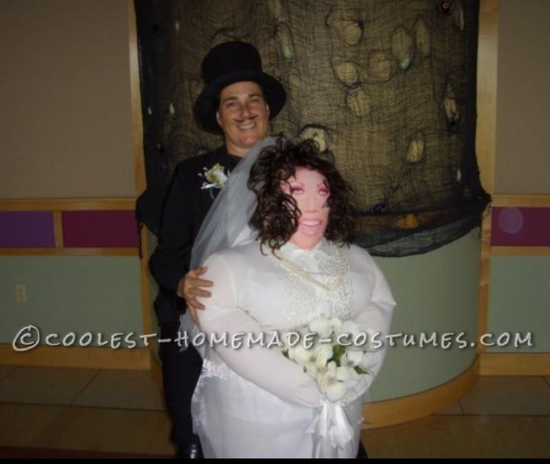 Piggyback Illusion Costume: Bride Giving her Groom a Piggyback Ride