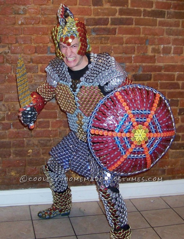 Recycled Beer Capped Crusader Costume (Drinking in the Name of Art!)