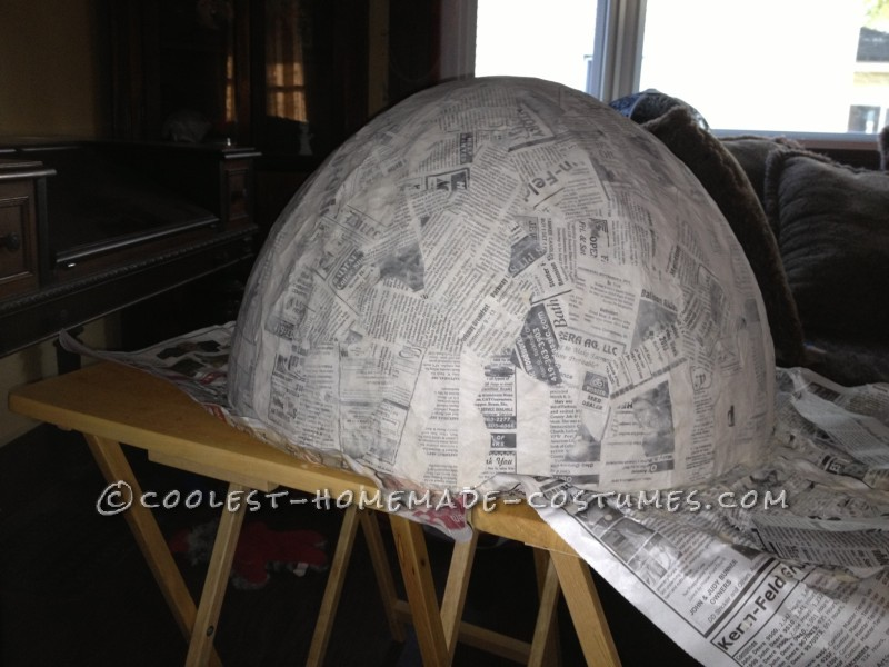 10 layers of paper mache dome/top