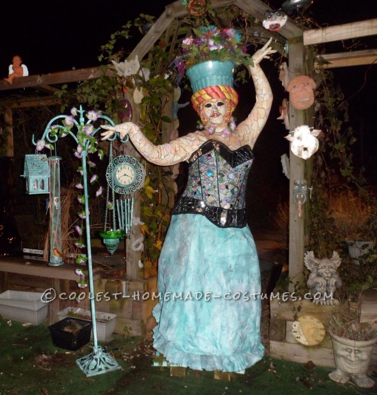 Creative Home Made Garden Mosaic Statue Costume