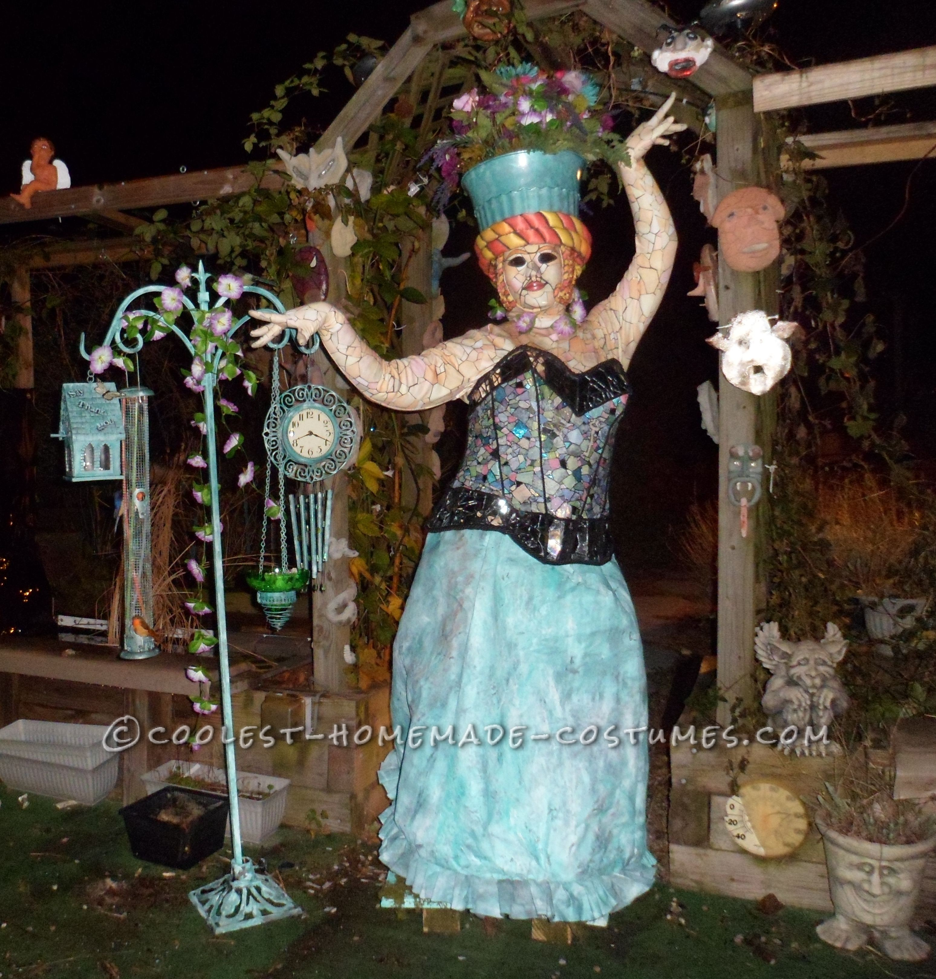 Creative Home Made Garden Mosaic Statue Costume