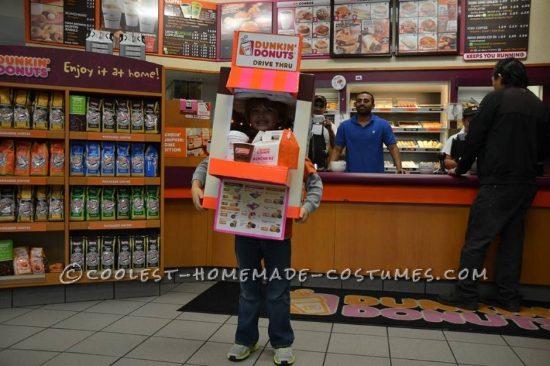Coolest Homemade Dunkin' Donuts Drive Thru Costume - 1