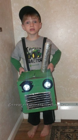 Coolest Homemade Tractor Costume for a Boy