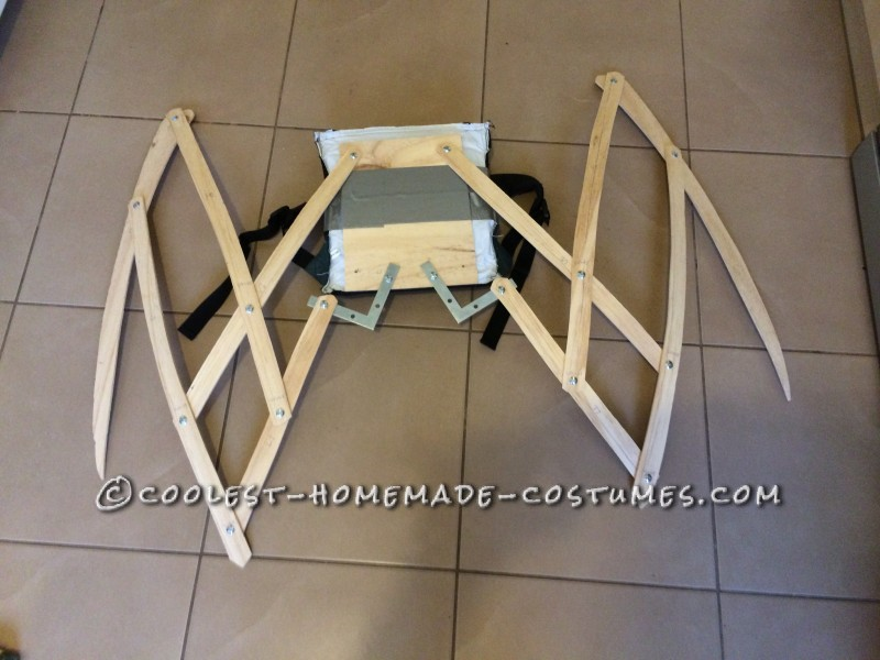 The wing frame folded in close.