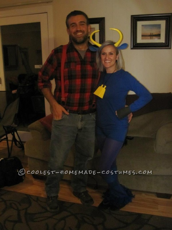 Coolest Paul Bunyan and Babe the Blue Ox Halloween Couple Costume - 1