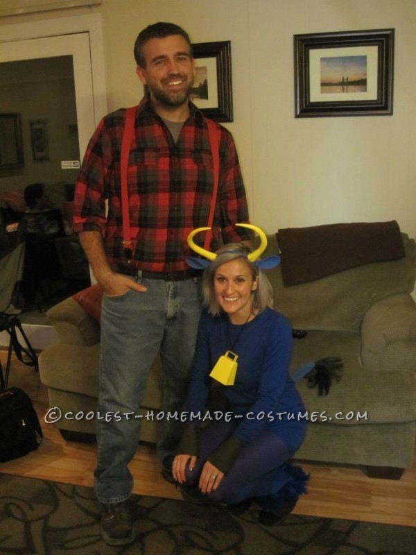 Coolest Paul Bunyan and Babe the Blue Ox Halloween Couple Costume - 2