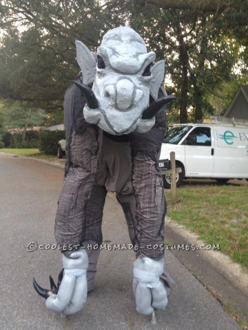 larger than life grey ghouly stilted gargoyle costume