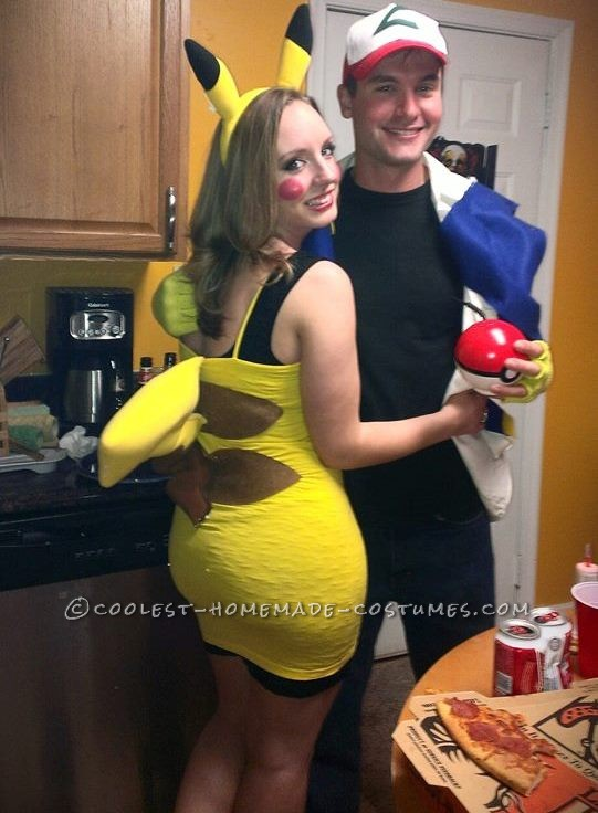 Cute Ash and Pikachu Couple Costume - 1