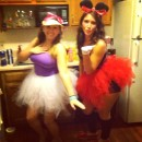 Cute Homemade Minnie Mouse and Daisy Duck Costume Duo