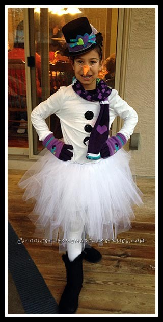 Cute Snowman Costume for Tween Girl