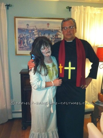 Scary Couple Costume from Exorcist: Regan and Priest