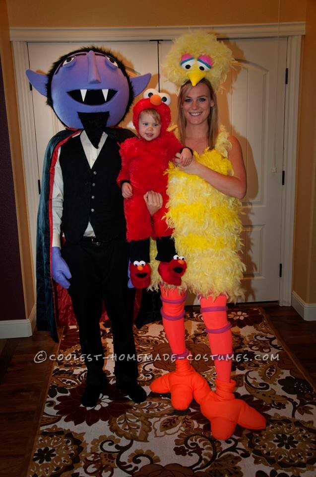 Cool DIY Count, Big Bird and Baby Elmo Family Halloween Costumes