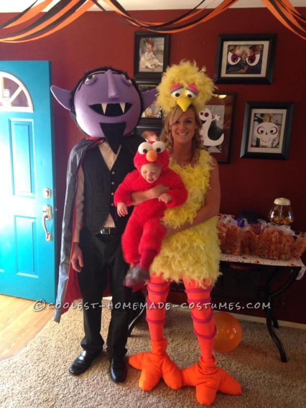 Cool Diy Count Big Bird And Baby Elmo Family Halloween Costumes