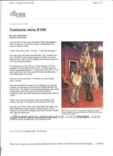local news paper write up after winning Regis' $10,000.00