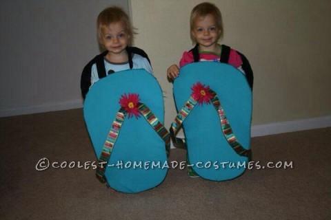 Cute Twin Toddler Halloween Costumes - Flip Flops