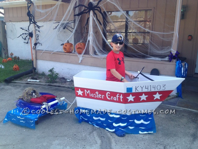 Frightened Inner Tuber Behind Bad Boat Driver Costume