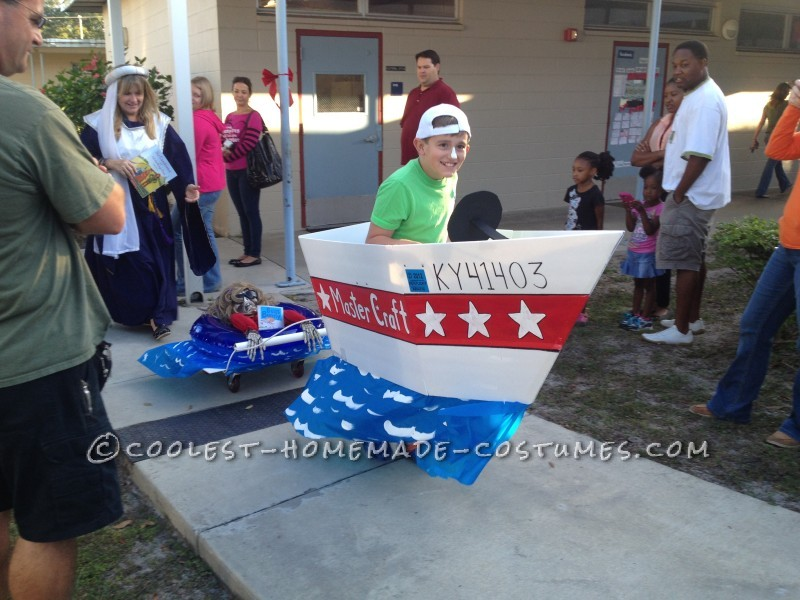 Frightened Inner Tuber Behind Bad Boat Driver Costume: Jackson is our 4th son. He is 10 years old and this was the last school parade for our family (this is our last year in Elementary school). All four o