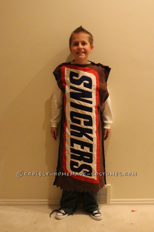 Homemade Snickers bar costume