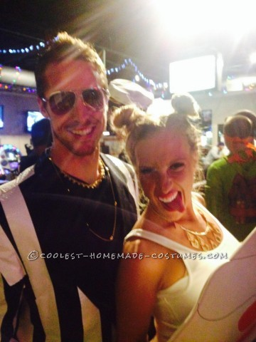 Funny Homemade Couple Costume: Miley Cyrus and Robin Thicke