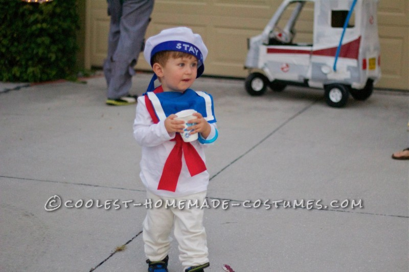 Toddler Stay Puft Marshmallow Man Costume and Stroller Ghostbuster Mobile - 2
