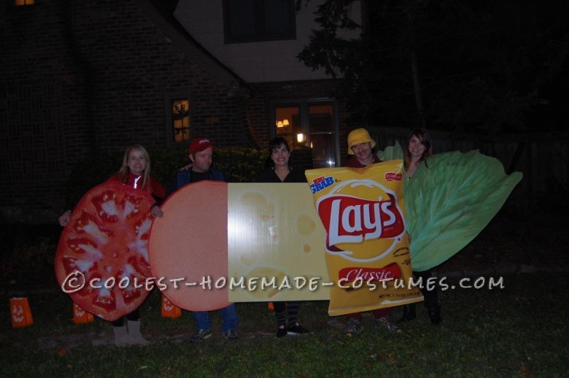 Giant Human Sandwich and Chips Group Halloween Costume