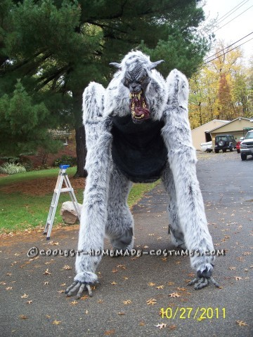 Giant Homemade Werewolf Costume on Stilts