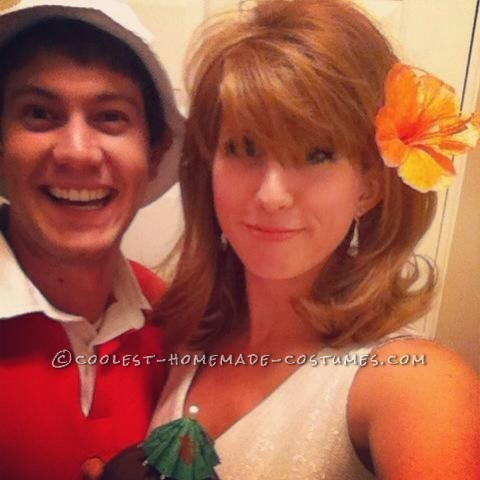 Gilligan and Ginger DIY Couple Halloween Costume (And The Professor, Too)
