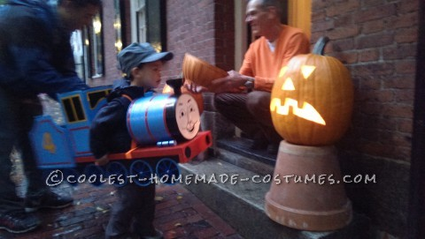 Cool DIY Gordon Train Costume for a Toddler Made with Throw-Away Items