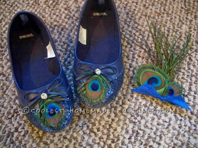 Shoes and feather brooch