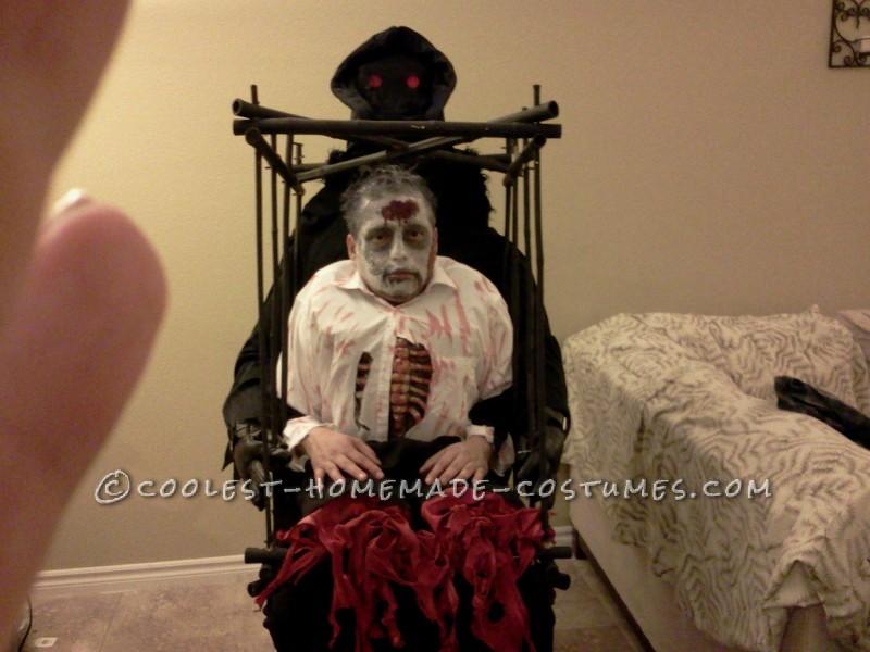 Grim Reaper with Half Zombie in a Cage Illusion Costume