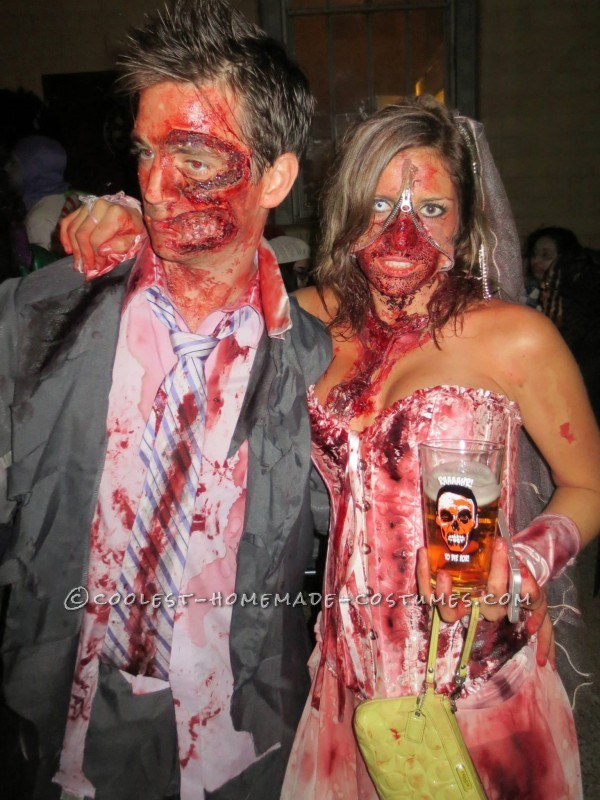 Head-Turning Zombie Couple Costume: Zipper Face Bride and Two Face Groom