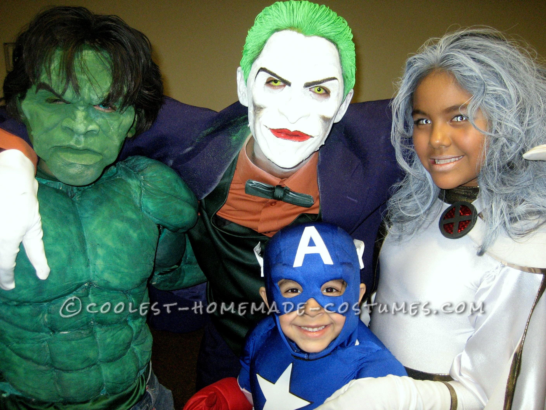 Cool Homemade Hulk, Storm, Captain America and Joker Costumes
