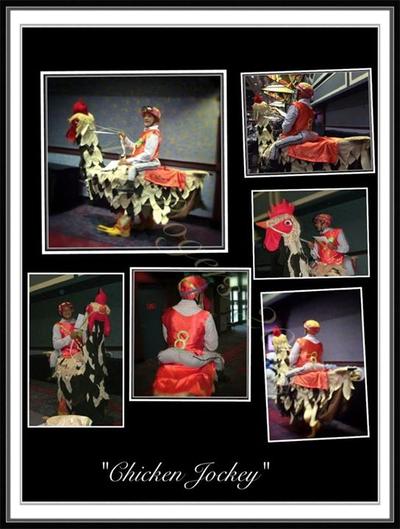 """Homemade """"Chicken Jockey"""" costume"""